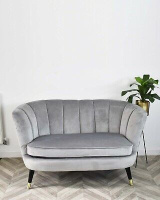 Light Grey Velvet Scallop Shell Back Tub Chair Armchair Upholstered Chairs Bedro