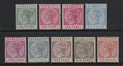 Barbados 1882-86 set of 8 to 1s + 1d shade - lightly mounted / mounted mint £700