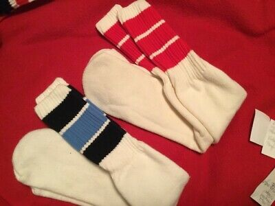 Vtg 70s 80s Over the Calf Tube Socks Blue Red Striped Athletic Derby Lot Of 2