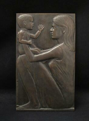 Bronze Sculpture Plaque Signed Michael Meszaros Mother & Child Australian Artist