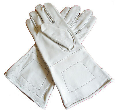 American Civil War ACW Confederate Union Gauntlets Gloves White Leather Large
