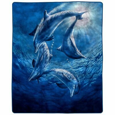 Full Queen Size Luxury Mink Blanket Dolphins Super Soft 74 x 91 Inch 7.5 lbs