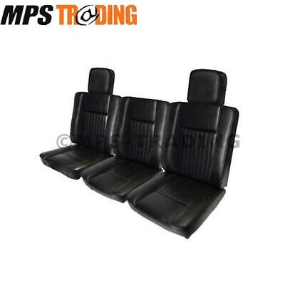 Land Rover Series 2 2A 3 Black Deluxe Vinyl Front Seat Set & 2 X Head Rests