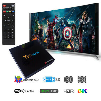 Smart TV BOX T10 PLUS Android 9 4GB RAM 64GB 4K TV GPU 5 CORE QUAD WIFI