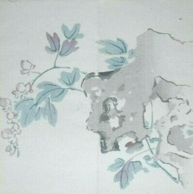 'CHINESE' ROCK & BLOSSOMS : ORIGINAL MEIJI JAPANESE WOODBLOCK PRINT By GYOKUSHO