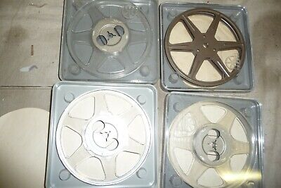 Cine film reels  8 mm POSSO rare early metal reel x 4 in plastic cases