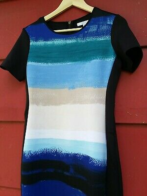 20f4dc81 REED KRAKOFF BLUE and black scuba and mesh sleeveless dress size 10 ...