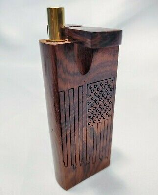 American Flag Version#2 Rosewood Dugout Stash Box + Grinder Tip Brass One Hitter