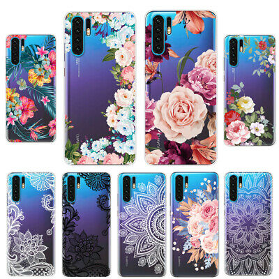For Huawei P20 P30 Pro Lite P Smart Flower Patterned Clear Silicone Case Cover