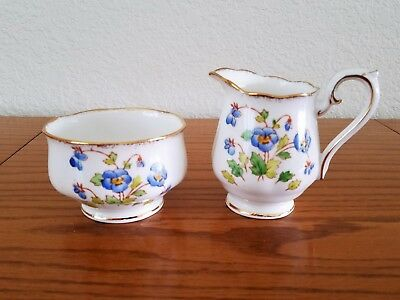 ROYAL ALBERT England Bone China Petite Creamer & Open Sugar Bowl Blue Flowers
