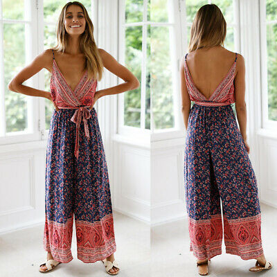 Summer Boho Women Floral Jumpsuit Romper Backless Wide Leg Long Pants Outfits