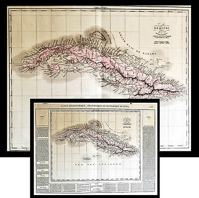 1825 Hand Colored Map of Cuba Text French Historique de Cuba Buchon Caribbean