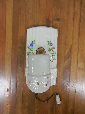 Old Vintage Ceramic Porcelain Wall Sconce Light with Pull Chain  #