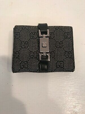 1bfbb362dfd Vintage Gray Canvas Black Leather Gucci Wallet 100% Authentic GG logo Buckle