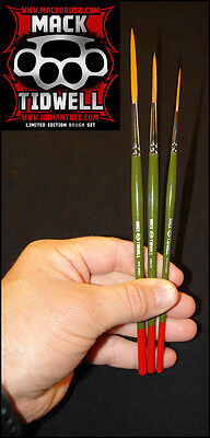 "Mack Tidwell Brush Set of 3 ""Five Speed, Heavy & One-Liner"" Pinstriping Brushes"