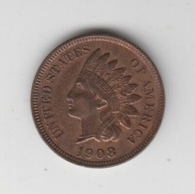 Coin 1908 USA Indian Head 1 cent in uncirculated condition