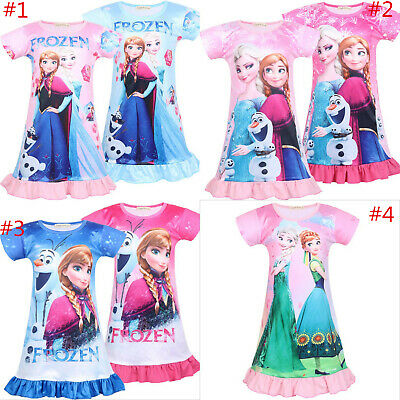 New Frozen Elsa Anna Girls Nightdress Nightie Dress Sleepwear Pajamas Skirts