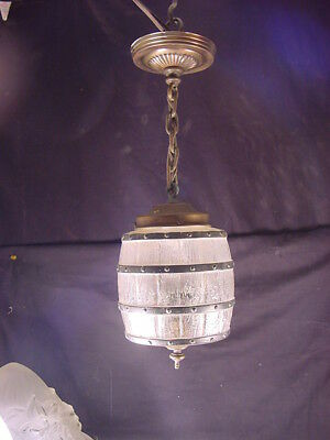 C.1920 HALL OR PORCH PENDANT FIXTURE w/UNUSUAL BARREL(KEG) SHAPE GLASS SHADE