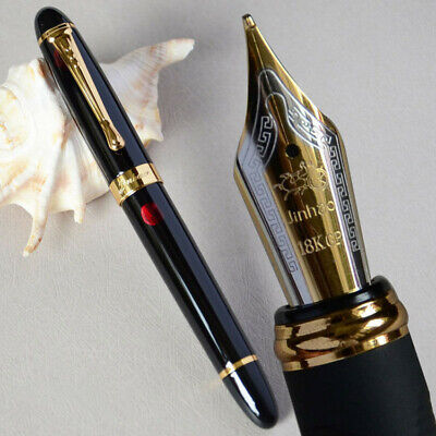 Jinhao X450 Black with Firework Fountain Pen 0.7mm Broad Nib 18KGP Golden Trim