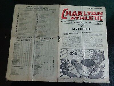 CHARLTON ATHLETIC v LIVERPOOL  Div 1   1946/47