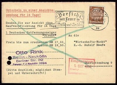 Germany 1936 - Third Reich Fire in the Forest Slogan Postmark Used on Postcard