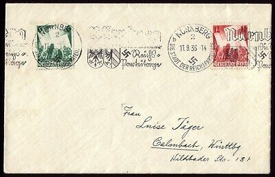 Germany 1936 - Third Reich Party Rally Nuremberg Pair with Special Town Postmark