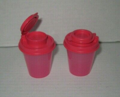 Tupperware ~ 2 Oz Midget Salt & Pepper Shaker Set ~ Rubine Red ~ New