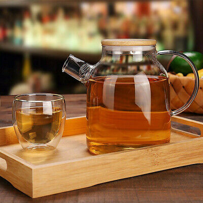 1800ML Glass Jug with Bamboo Lid Cold Water Drink Pitcher Carafe Juice Drinking