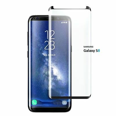 New Tempered Glass Screen Protector Black  3D Samsung Galaxy S8 100% Genuine