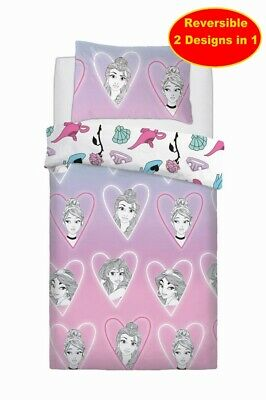 Cotton Blend - Disney Princess Single Duvet Quilt Cover Set Pink Girls Bedroom