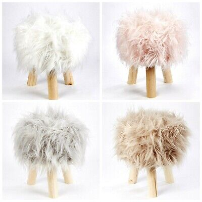 Long Pile Mongolian Mohair Fur Round Stool Footstool With Skandi Wooden Legs