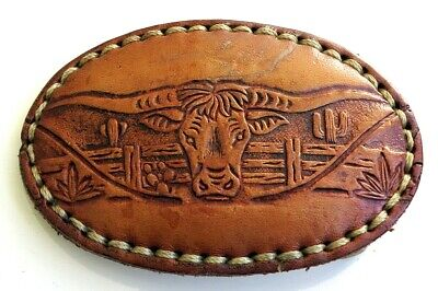 Longhorn Steer Head Cowhide Leather Western Cowboy Vintage Belt Buckle