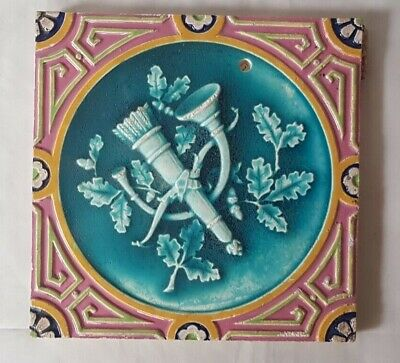 Charming Bow, Arrow & French Horn Design Majolica Victorian  Tile Prob Minton