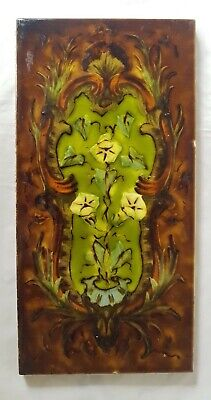 Gorgeous Victorian Barbotine Large  Tile Sherwin & Cotton Tile 19Th Century