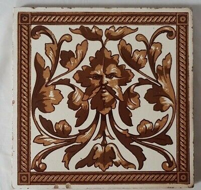 large MINTON HOLLINS PAGAN DESIGN VICTORIAN  TILE 19TH CENTURY