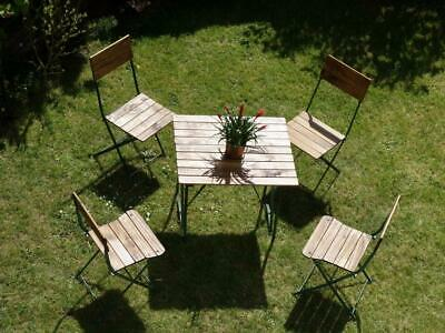 4 Pretty Green Vintage French Folding Cafe Bar Bistro Patio Chairs Garden Table
