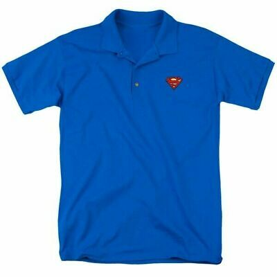 Superman Official Classic Logo Blue Polo Shirt Adult Mens S-3XL