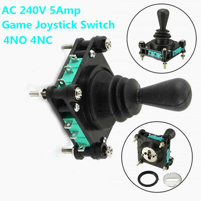 AC 240V 5A 4NO 4NC Momentary 2.5mm Fixing Thread Game Joystick Switch Black