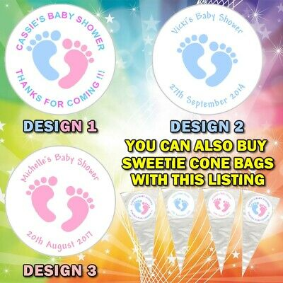 Personalised GENDER REVEAL PARTY Baby Shower Stickers Sweet Cone Favour Bags-DE2