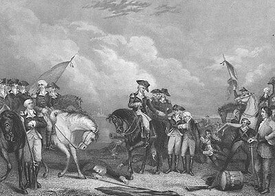 Revolutionary War George Washington BATTLE TRENTON NJ ~ 1870 Art Print Engraving