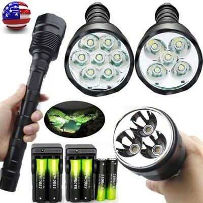 7x 150000LM Tactical T6 LED Flashlight Torch Lamp 18650 5-Mode Police Light