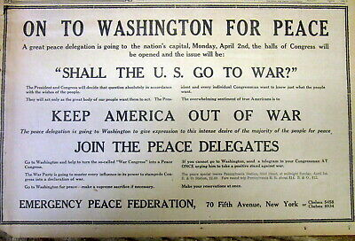 1917 NY City newspaper with an ANTI-WAR AD against the US entering into WW I