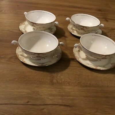 Antique Homer Laughlin 4 Footed Cream & Soup Bowls & Saucers Eggshell Nautilus