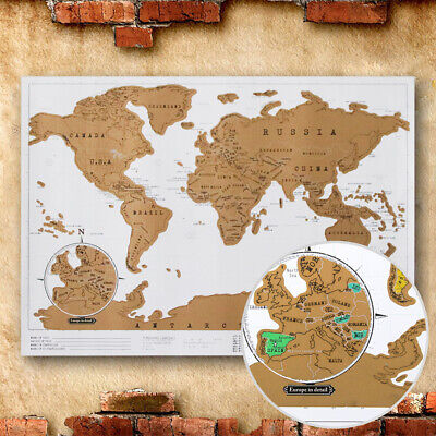 Personalized Deluxe Travel Edition Scratch Off World Map Poster Journal Log Maps