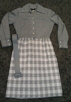 VTG 60s/70s Dress Trends By Jerrie Lurie ILGWU Union Gray Plaid EUC Womens 12