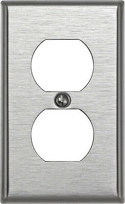 Leviton 1 gang Silver Stainless Steel Duplex Outlet Wall Plate 1 pk