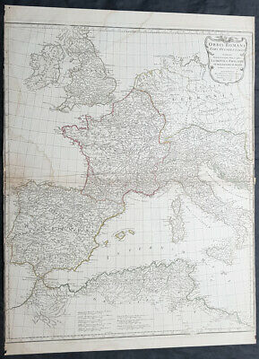 1764 D Anville Large Antique Map of the Western Roman Empire Dalmatia to Britain