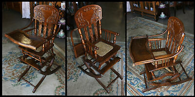 Antique Oak Heart Press Back Adjustable Baby High Chair Caned Seat Vintage Youth