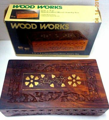 Solid Brass Inlay JEWELRY BOX HARD WOOD HAND CARVED-Made in India-Excellent