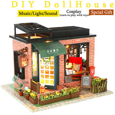 DIY Wooden Assemblin Toy Model Doll House Miniature Kit Bookstore Birthday Gift